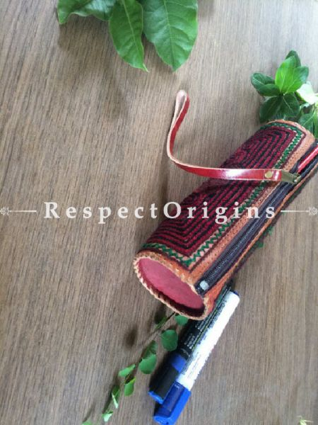 Buy Rajasthani Multicolor Embroidered Leather Pouch; RespectOrigins.com