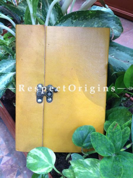 Buy Yellow Rajasthani Leather Diary with Lock At RespectOrigins.com