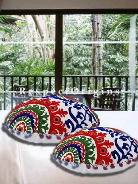 Buy Set of 2 Handmade Suzani Embroidery Cotton Round Cushion Cover in White At RespectOrigins.com