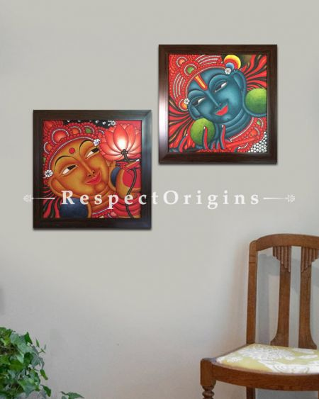 Buy Square Kerala Mural Painting of Lord Krishna and Radha in 18x18 Inches |RespectOrigins