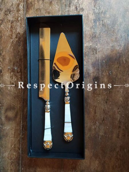 Buy Mother of Pearl Cake Serving Set with Gold Plated Steel At RespectOrigins.com