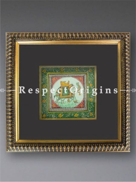 Set of 2 Miniature Paintings Royal Elephant and Camel on Silk With Frame; 6x6 in; Square; Traditional Rajasthani Wall Art