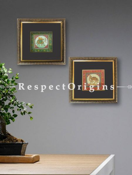 Buy Set of 2 Miniature Paintings Royal Elephant and Camel on Silk With Frame; 6X6 inches; Square; Traditional Rajasthani Wall Art at RespectOrigins.com