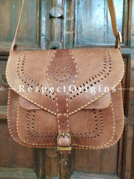 Genuine Leather Unisex Hand-stitched Satchel; Natural Brown or Bags; RespectOrigins.com