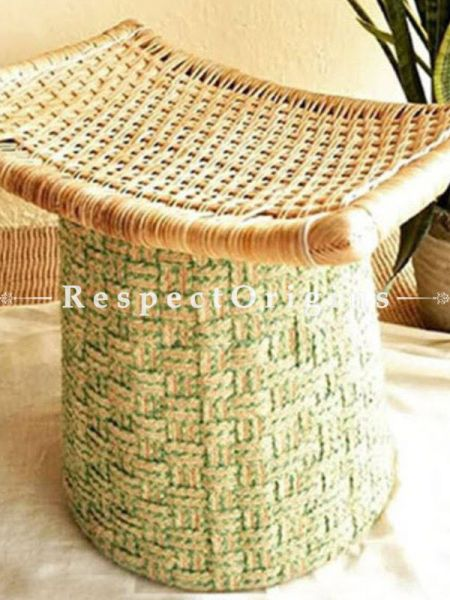 Buy Rattan Cane and Jute Light Green Ottoman At RespectOrigins.com