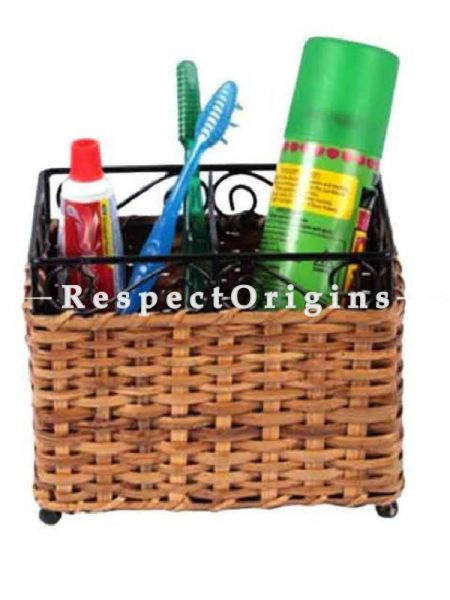 Buy Rattan Cane Tooth Brush holder with wrought iron trimming. 6x4x5 inches|RespectOrigins