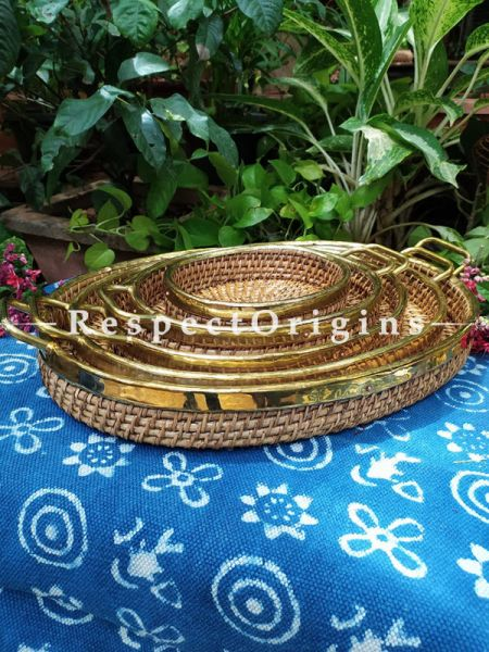 Round Hand braided Rattan Cane Round Trays Set with Brass Trimming; Set of 5 at Respectorigins.com