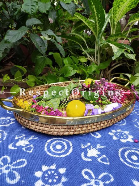 Hand braided Rattan Cane Round Trays with Brass Trimming; 3 Inches x 21 Inches x 13 Inches at Respectorigins.com