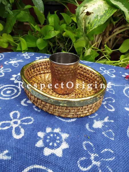 Hand braided Rattan Cane Round Trays with Brass Trimming; 2 Inches x 9 Inches x 7 Inches at Respectorigins.com