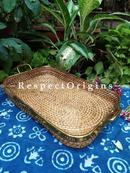 Hand braided Rattan Cane square Trays with Brass Trimming; 4 Inches x 24 Inches x 14 Inches at Respectorigins.com