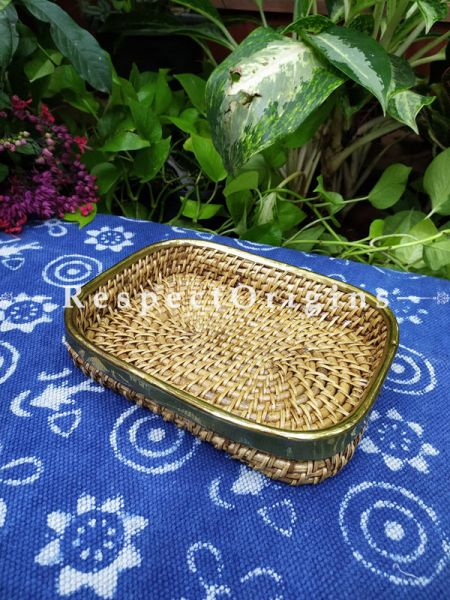 Hand braided Rattan Cane square Trays with Brass Trimming; 2 Inches x 10 Inches x 8 Inches at Respectorigins.com