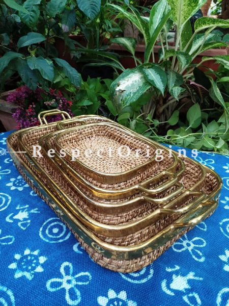 Rectangular Hand braided Rattan Cane Trays with Brass Trimming; Set of 5 at Respectorigins.com
