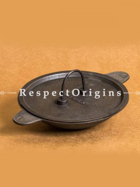 Buy Round Cast Iron Pan with Lid- Appa Chatti; Dia - 8.5 in; Handcrafted Traditional Cookware; Toxic-free and Hand Seasoned At RespectOrigins.com