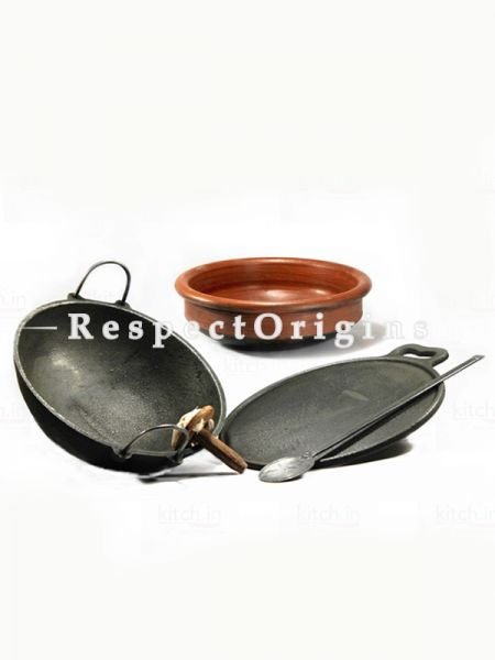 Toxic-Free & Hand-Seasoned Cast Iron & Clay Cookware Basic Starter Set Of 3-Pr-50222-70439