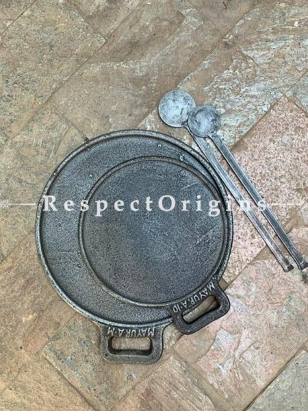 Buy Round Set of 2 Cast Iron Dosa Pans with Ladles; Dia - 10 and 13 in; Handcrafted Traditional Cookware; Toxic-free and Hand Seasoned At RespectOrigins.com