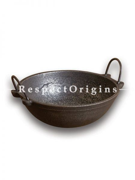 Buy Cast Iron Frying Pans - Kadhai; 3000 Ml; Dia 10.5 in; Handcrafted Traditional Cookware; Toxic-free and Hand Seasoned At RespectOrigins.com