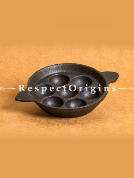 Buy Round Cast Iron Paniyaram Pan With Flat Bottomed; 7 in; Handcrafted Traditional Cookware; Toxic-free and Hand Seasoned At RespectOrigins.com