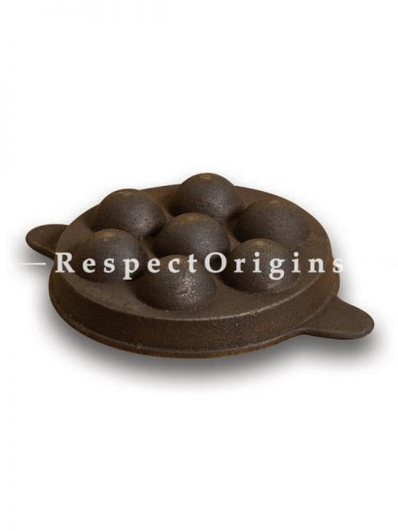 Buy Round Cast Iron Paniyaram Pan Non Flat Bottom; 9 in; Handcrafted Traditional Cookware; Toxic-free and Hand Seasoned At RespectOrigins.com