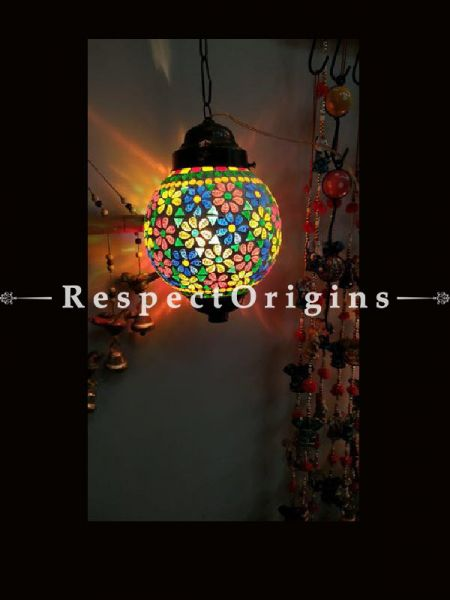 Striking Handcrafted Colorful Blue Pottery Electric Hanging Lantern Lamp for Home Decor; 12 Inches; RespectOrigins.com