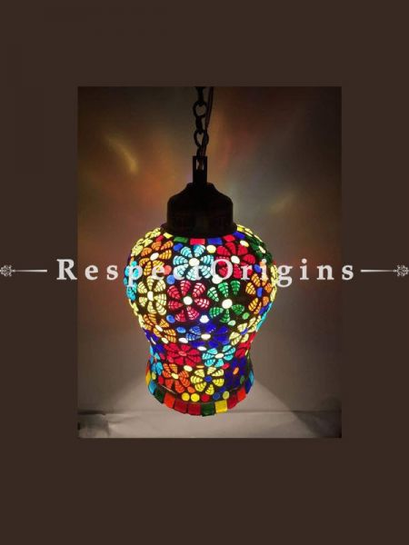 Impressive Handcrafted Vibrant Blue Pottery Electric Hanging Lantern Lamp for Home Decor; 12 Inches; RespectOrigins.com