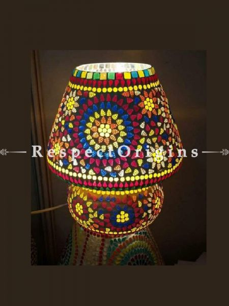 Beautiful Handcrafted Radiant Blue Pottery Electric Desk Table Lantern Lamp for Home Decor; 12 Inch; RespectOrigins.com