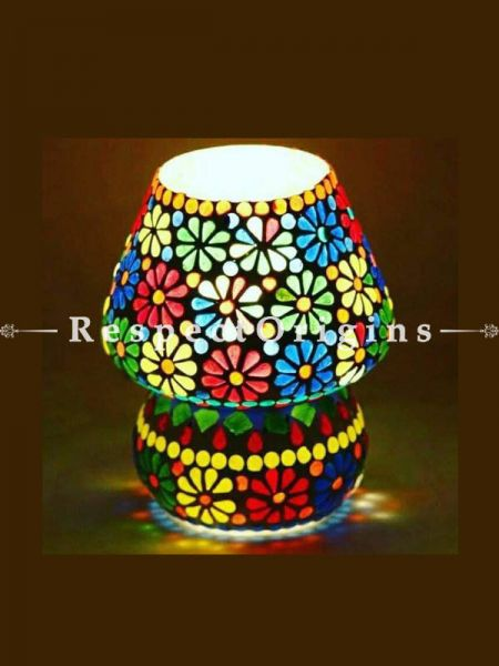Lovely Handcrafted Vibrant Blue Pottery Electric Desk Table Lantern Lamp for Home Decor; 12 Inch; RespectOrigins.com