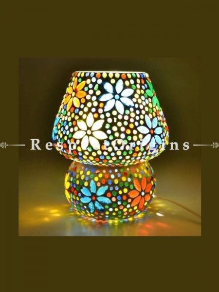 Pretty Handcrafted Vivid Blue Pottery Electric Desk Table Lantern Lamp for Home Decor; 12 Inch; RespectOrigins.com
