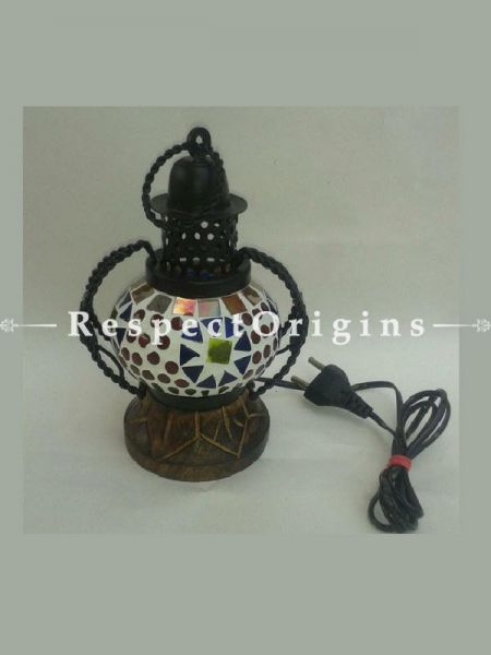 Handcrafted Blue Pottery Electric Desk Table Lantern Lamp for Home Decor; 4 Inch; RespectOrigins.com