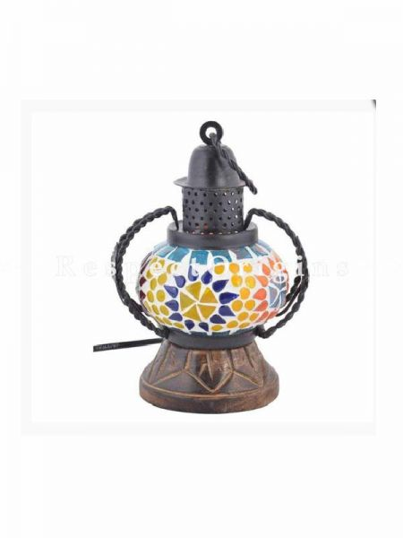Exquisite Handcrafted Colorful Blue Pottery Electric Desk Table Lantern Lamp for Home Decor; 4 Inch; RespectOrigins.com