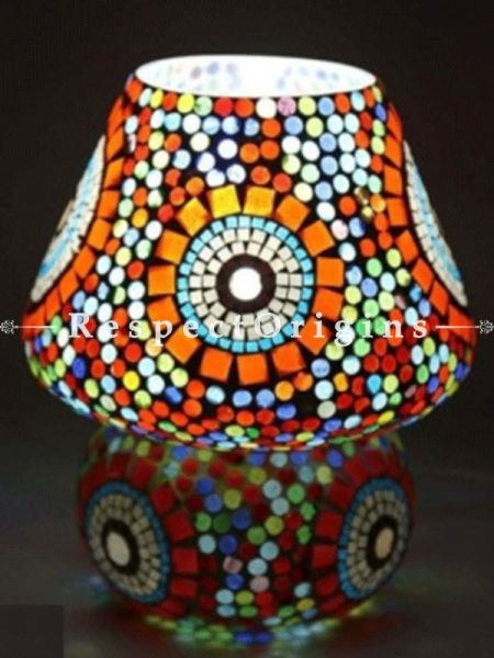 Attractive Handcrafted Glowing Blue Pottery Electric Desk Table Lantern Lamp for Home Decor; 12 Inch; RespectOrigins.com
