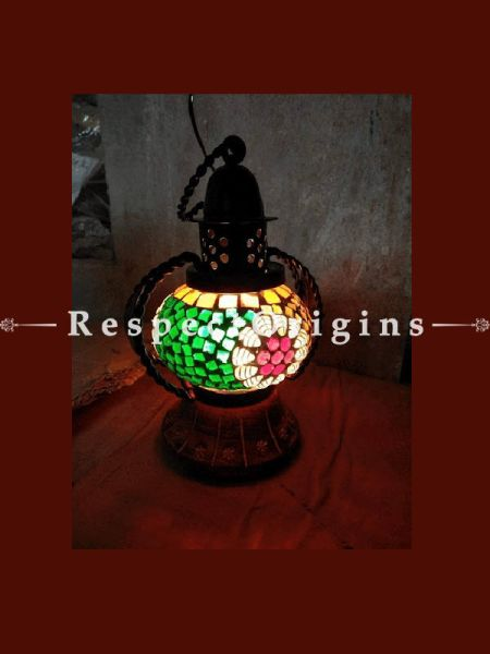 Alluring Handcrafted Brilliant Blue Pottery Electric Desk Table Lantern Lamp for Home Decor; 4 Inch; RespectOrigins.com