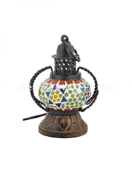 Interesting Handcrafted Colorful Blue Pottery Electric Desk Table Lantern Lamp for Home Decor; 4 Inch; RespectOrigins.com