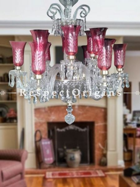 Buy Luxury Rose Pink Hand-crafted Glass Lamp and Crystal 12 Arm European Chandelier Light At RespectOriigns.com