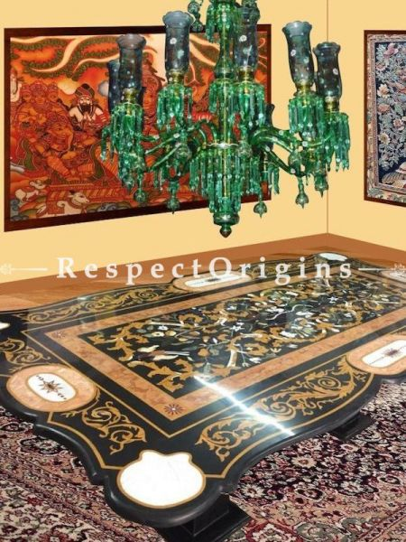 Buy Emerald Green with Gold Hand-Painted Handcrafted Glass Chandelier Lights; 12 Arms. At RespectOriigns.com