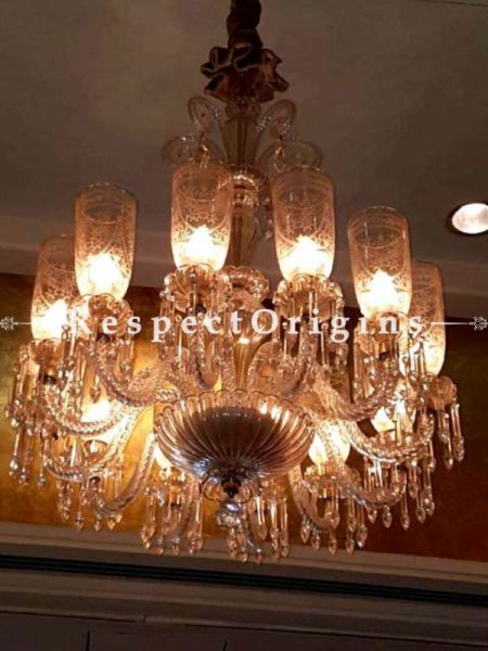 Buy Glorious 12-Arm Hand-crafted Glass Finely-etched Lamp Chandelier Lights in Vintage white. At RespectOriigns.com