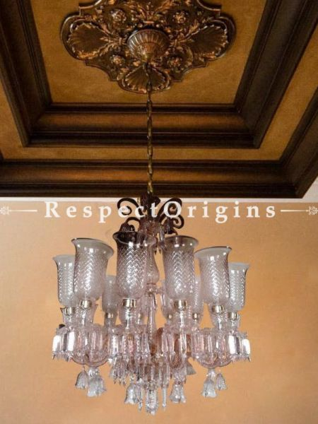 Buy Champagne Pink Glass Chandelier Lamp; 12 Lights At RespectOriigns.com