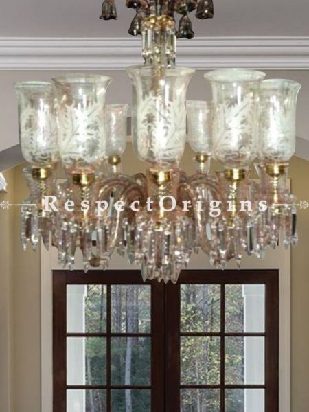 Buy Classic 8 Arm Handmade Glass Chandelier in White and Gold. At RespectOriigns.com