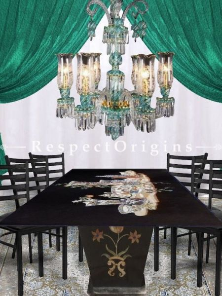 Buy Exquisite Ivory White, Sea Green and Gold Rimmed Hand-Crafted 8-Arm Glass Chandelier Light At RespectOriigns.com