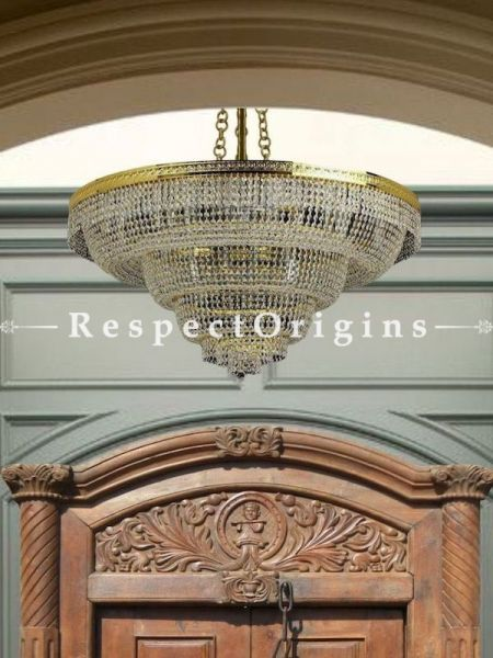 Buy Cascading Hand-Crafted Glass White Tiered Round Chandelier At RespectOriigns.com
