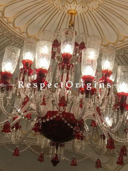 Buy Regalia 16 Arms Luxury Handcrafted Glass Lamp Chandelier in Pristine, Red and Gold. At RespectOriigns.com