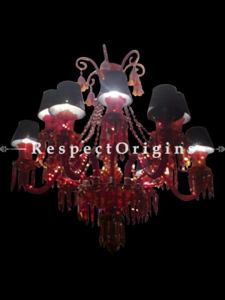 Buy Red Hot Glass and Crystal Mid-century Elegant Handcrafted Chandelier with Lampshades in Black Fabric in 12 Arms. At RespectOriigns.com
