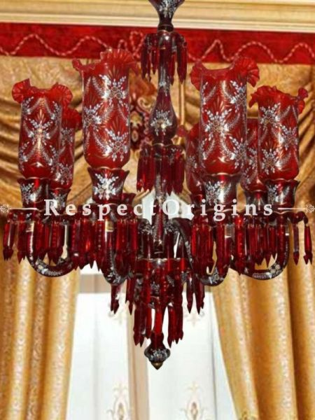 Buy Ruby Red Stunning 8-Arm Handmade Glass Lamp Chandlelier with Silver Hand-painted Floral Motifs. At RespectOriigns.com