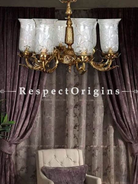 Buy Elegant Ivory White Handmade Glass Lamp with ornate 6-Brass Arms. At RespectOriigns.com