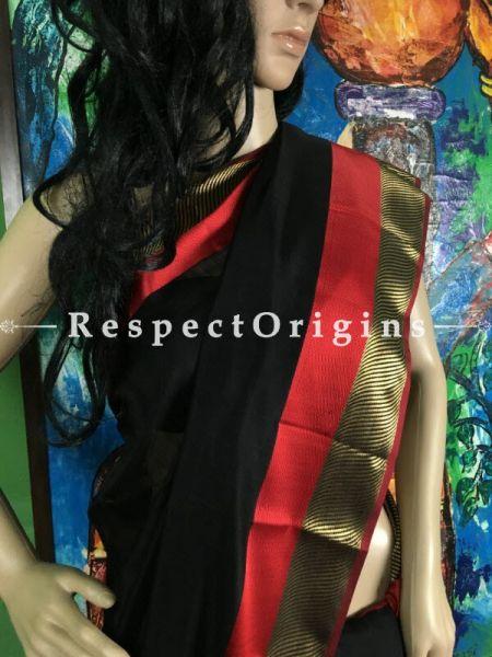 Maheshwari Black & Red Cotton Saree; RespectOrigins.com