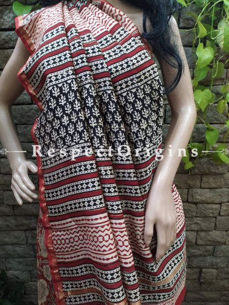 Red Chanderi Silk Saree with Sangneri Block Prints; Blouse included; RespectOrigins.com