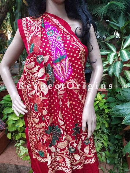 Benarasi Mandarin Orange Silk with Woven Florals n Red Rich Zari Border w/Green Edges; Blouse included; RespectOrigins.com
