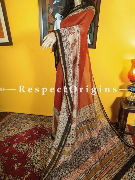 Earthy Colours Chanderi Silk Saree with Zari Border; Blouse included.; RespectOrigins.com