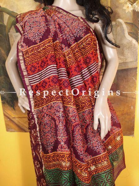 Ajrakh Coloured Chanderi Silk Saree with Zari Border; Blouse included.; RespectOrigins.com