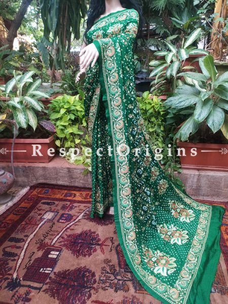 Mehendi Green Gajji Silk Bandhej Saree with Gem like woven Butis; Blouse Included; RespectOrigins.com