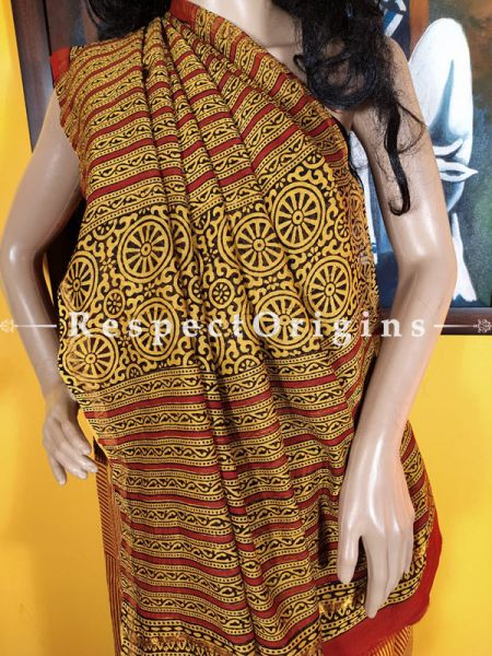 Mustard Yellow n Brick Red Chanderi Silk Saree with Zari Border; Blouse included.; RespectOrigins.com